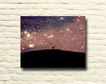 Starry Night sky photo. Purple art. lover's silhouettes. surreal sky. stars. dreamy. cosmic. canvas wall art. purple home decor. black gold.