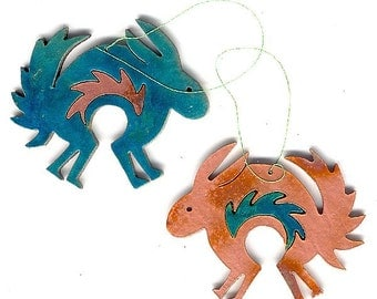 CopperCutts Mimbres Rabbit Ornament Rustic Southwest Copper and Wood with Your Choice of Primary Color