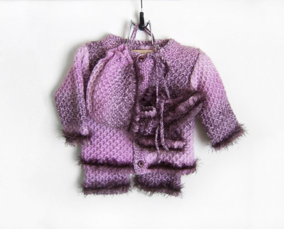 Violet Knitted Baby Set - Cardigan, Pants, Bonnet and Booties, 3 - 6 months