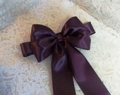 Eggplant Satin Flower Girl Sash, Double Face Satin Ribbon Sash with Large Bow, Bridal Sashes, Flower Girl Sash