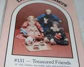 "Cloth Doll Pattern No 131 ""Treasured Friends""  15"" Doll Clothes Tiny Teddy, Baby and Pocket Bunny  New Factory Fold  Epsteam"