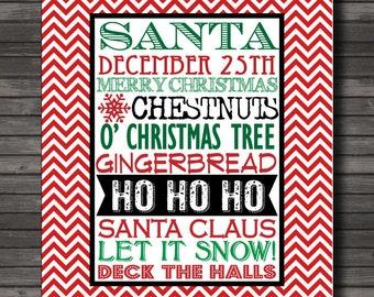 Christmas Subway Art Printable, ChevronArt Print, Christmas Art
