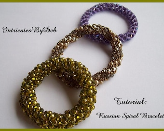 Digital Download Tutorial for Beaded Russian Spiral Bangle or Bracelet  - Jewelry Beading Pattern, Beadweaving Instructions, Do It Yourself