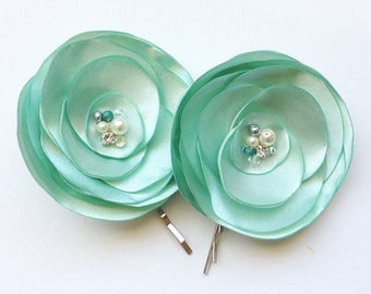 Aqua Green Crystal and Pearls Embellished Satin Flower - Hair, Shoe Clip for a Bride, Bridesmaid, Flower Girl, Event - Photo Prop Tara