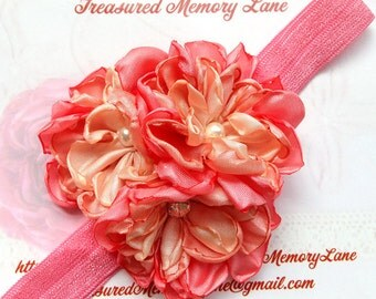 Coral Peach Girl Headband - Handmade Fabric Flowers with Swarovski Sew on Crystal and Pearls for Bridesmaid, Flower Girl, Newborn Photo Prop