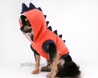 Dog Costume Dinosaur Spikes Orange fleece cute Hoodie