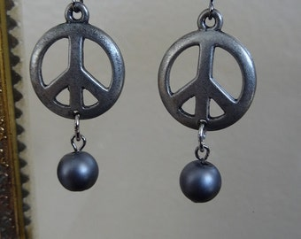 Peace and Pearls Earrings