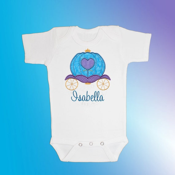 Bodysuit Baby Clothes - Personalized Applique - Princess Carriage - Embroidered Short or Long Sleeved - Free Shipping