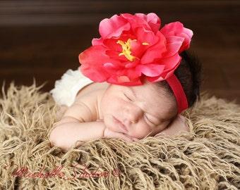 Big Hot Pink Rose Flower Headband Photo Prop Baby Baby foldover Elastic. Flower headband. newborn photography Photo prop. baby headbands