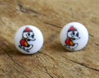 Authentic Vintage 1970s Duck Post Earrings