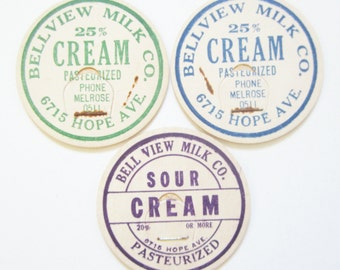3 Vintage Bellview Cream and Sour Cream Milk Bottle Caps