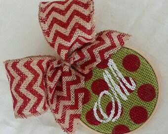 Burlap Christmas Ornament - Personalized Handpainted Red Polka dot Monogram Christmas ornament -Chevron Burlap bow -great Christmas Gift