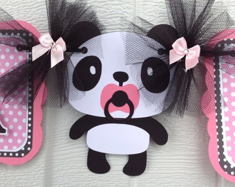 Panda baby shower, baby shower banner, panda banner, panda decorations, pink baby shower, it's a girl banner, photo prop, table banner