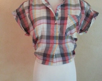 Vintage 50s Thick Plaid Country Chic T-Shirt