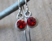 Titanium Earrings, Red Rhinestone Crystals with Hypoallergenic Titanium Ear Wires