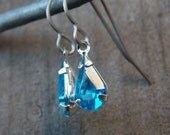 Titanium Earrings, Blue Teardrop Crystal Crystals with Hypoallergenic Titanium Ear Wires