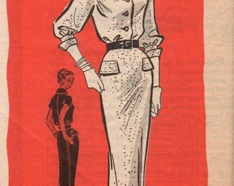 1956 Misses' Dress Mail Order 4849 Size 10 Bust 31 Waist 24 Hip 33