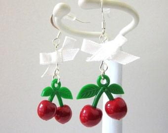 Cherry Earrings Red White Bow Cherries