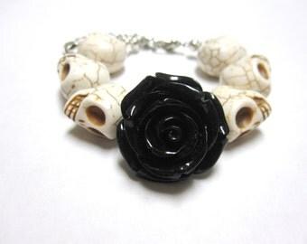 White Black Sugar Skull Bracelet Day of the Dead Rose Strand Jewelry