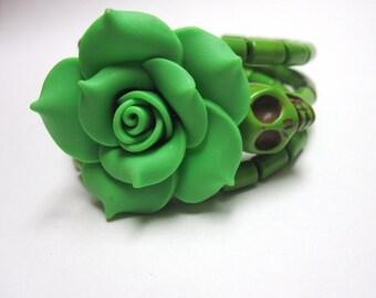 Sugar Skull Bracelet Day Of The Dead Wrap Green Rose