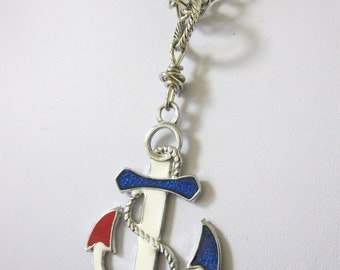Nautical Enameled Red White Blue Anchor Necklace