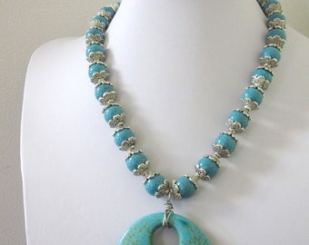 Turquoise Blue Silver Necklace Western Cowgirl Jewelry Buffalo Stone