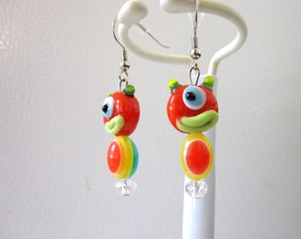 Monster Earrings Red Yellow Lampwork