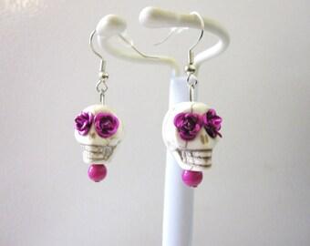 White Fuschia Sugar Skull Day of The Dead Earrings