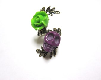 Sugar Skull Ring Day of the Dead Jewelry  Purple Green Rose