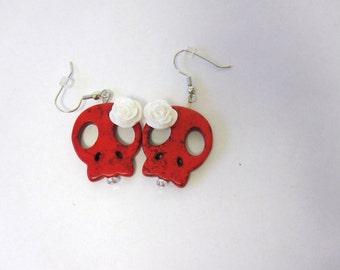 Sugar Skull Earrings Day Of The Dead Red White Flower