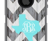 OTTERBOX Defender iPhone 6 5 5S 5C 4/4S iPod Touch 5GCase Distressed Wood Chevron State Initials Personalized Monogram ID