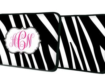 "Custom LAPTOP MACBOOK Sleeve Zebra Animal Initial Monogram 11"" 12"" 13"" 14"" 15"" - Personalized Monogram - Design Printed on Front AND Back"