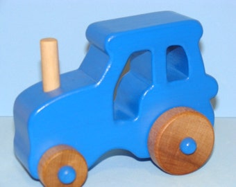 BLUE Wooden Toy Farm Tractor - Medium