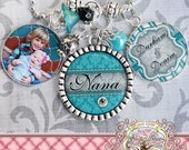 Nana Necklace, TRIPLE Pendant Bezel NECKLACE (or Keychain),Photograph Children's Names, Mother's Day Gift, Grandma, Mimi, Teal, Wedding Gift