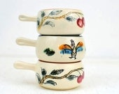 Vintage Ceramic Hand Painted Butter Dishes:  Set of Three