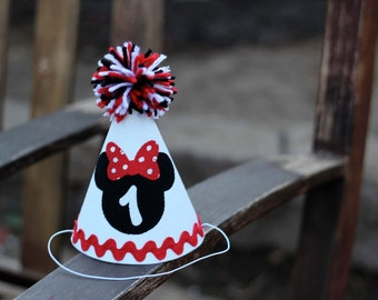 Minnie Mouse First Birthday Hat Red White Black First Birthday Party 1st Birthday Outfit