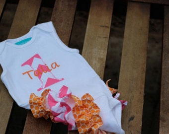 First Birthday Outfit Pink Chevron and Orange Dots Ruffle Bum Cake Smash Outfit Baby Girl Summer Birthday
