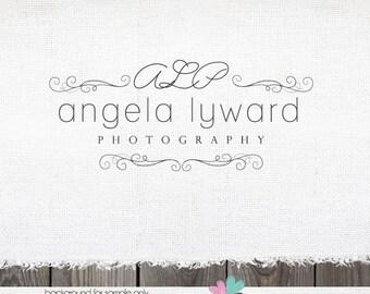 Premade Photography Logo - Hand drawn Swirls Frame & Intials Script Premade Logo for Photographer