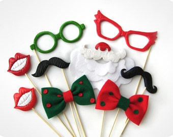 9 Christmas Photobooth props on sticks - Perfect Holiday Photo Booth Props set of 9