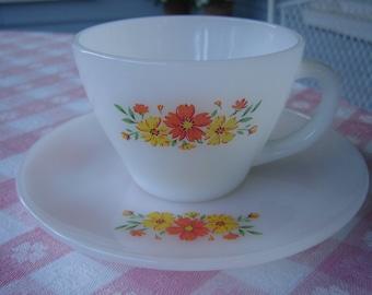 Vintage 1940s 40s Fireking Fire King Orange Yellow Flowers Cup Saucer / Farmhouse / Cottage / Decor