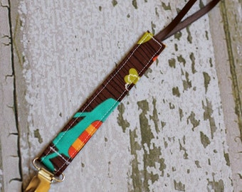 Baby Pacifier clip/ Pacifier strap/ Pacifier holder/ Paci/ Binkie/ Michael Miller/ Dino Dudes