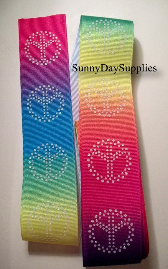 Rainbow Peace Ribbon in Hot Colors,  Wide Grosgrain Ribon,  4 YARDS,  1.5 inches wide,  Hippie  Ribbon,  Rainbow Ribbon, Clearance Ribbon