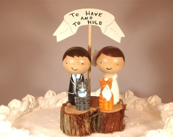 3D Kokeshi Wedding Cake Topper with Two Pets and a  Rustic Tree Slice Base and Wooden Banner Custom Cake Topper
