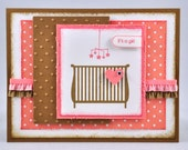 Baby Greeting Card, Welcome Baby, Baby Shower, Congratulations, Girl, It's a Girl, Coral, Pink, Brown, Crib, Mobile, Heart, Blank, Stamped