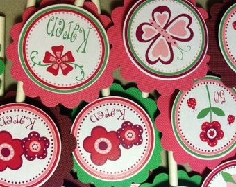 Pretty Garden Cupcake Toppers