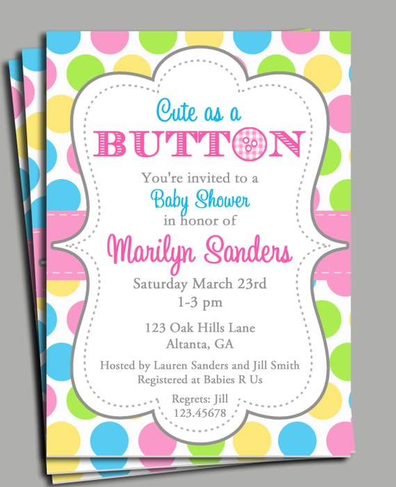 cute as a button invitation printable baby shower birthday you