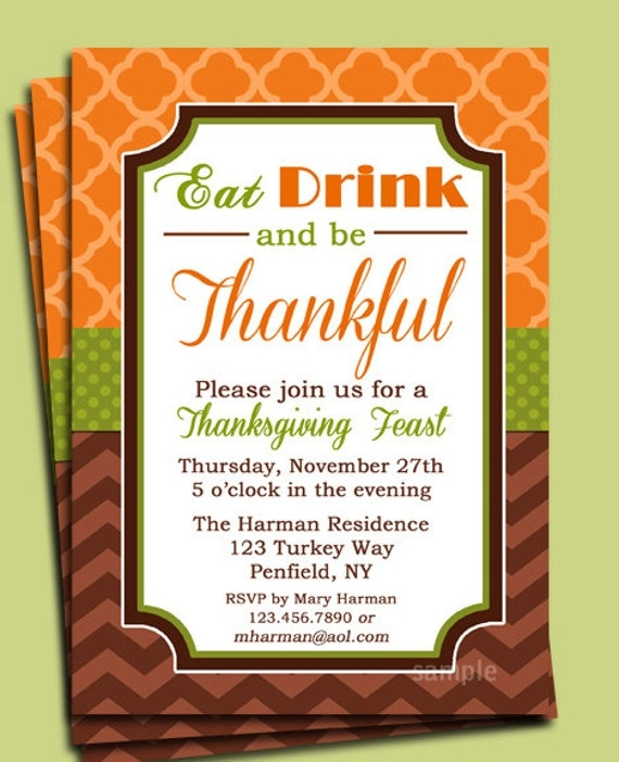 Eat Drink and be Thankful Thanksgiving Invitation Printable – Thanksgiving Party Invitation Wording
