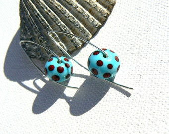 Turquoise and Dark Red Lampwork and Sterling Silver Earrings,Dotty Earrings