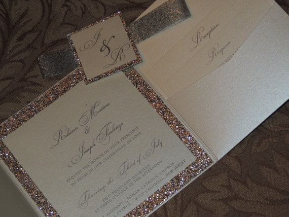 glitter wedding invitation sparkle wedding invitation,