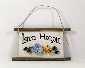 Isten Hozott, Hungarian Welcome, Paper Quilled Magnet 308, Hostess Gift, Blue Yellow Kitchen Decor, Hungary Gift, Rustic 3D Magnet